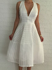 Women's Halter White Party Evening Wedding Cocktail Formal Middi Dress Size 10