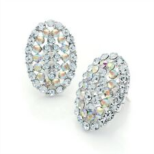 Oval Shape Large AB Crystal and Silver Colour Clip On Earrings