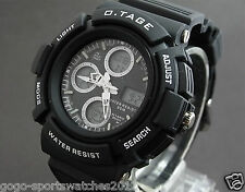 Men Boy Sports Digital Analog Watch WR Alarm Date Day Watchlight Stopwatch Black