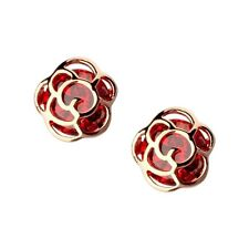 18K Gold GP SWAROVSKI Element Crystal Red Rose Clip Flower Earrings
