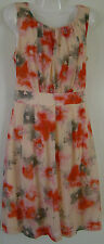 """Target"" Beige, orange & grey dress - floral design - knee- lined - Size - 10"