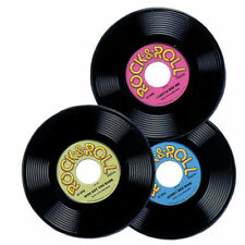 Rock and Roll Plastic Record  - Pack of 3 - 50's Party Decoration