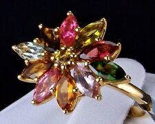 2.41ct Genuine Natural Multi-Color Tourmaline 10k Solid Yellow Gold Ring, Size 7
