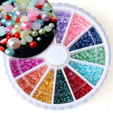 1800Pcs 12 Colors 3D Rhinestone Half Round Pearls Nail Art Decoration Wheel 2mm