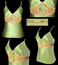 AS NEW ALANNAH HILL Moss Olive Green Lace Bead Bow det Silk Camisole Cami 8 10
