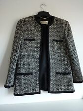 Ladies Lovely Windsmoor Black White Silver Wool Mix Jacket Size 12, Vgc