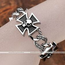 Metal Biker Cross Skull Mens Link Chain Bracelets Bangle Wristband Punk Jewelry