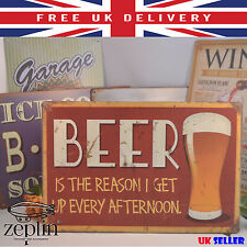 Pub Sing Metal Plaque BEER IS THE REASON 20cm x 30cm BAR Wall Decor Funny Gift