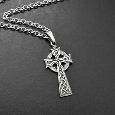 Pewter Celtic Cross Pendant Necklace w/ 55cm Stainless Steel Chain - Silver Tone