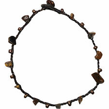 Ankle Bracelet Brown Stone Beads Foot Anklet Chain Mens Womens Feet Jewellery