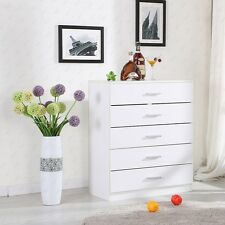 BN White Chest of Drawers 5 Drawers Bedroom Contemporary Furniture
