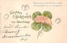 AK Litho. Prägekate kleine Ferkel mit Glücksblatt Zum Geburtstag gel. 1902