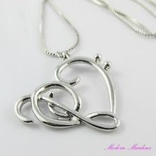 Treble & Bass Clef Music Note Heart Necklace 46cm