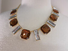 TARAMANDA Copper & Crystal Chunky Beaded Necklace on Gold Colored Chain NEW