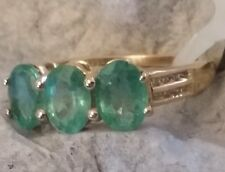 10k Yellow Gold Genuine Green Amethyst & Diamond Ring 3 Grams Size 7.5