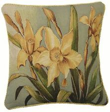 "DAFFODIL FLORAL FLOWER GOLD TAPESTRY PIPED COTTON BLEND CUSHION COVER 18"" 45CM"