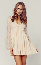 NEW FREE PEOPLE With Love Mini Lace Tea Dress - S - Romantic Babydoll Style