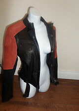 NWOT TOP DESIGNER Barbour Leather & Suede RED BLACK FITTED BIKER JACKET SIZE 12