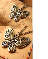 Women's Vintage Hollow Out Butterfly Pendant Necklace Gift UK