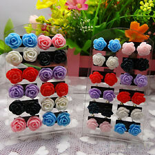 12 Pairs Vogue Rose Stud Earring Mixed Color Flower Wholesale Lot Nickel