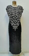 Original Vintage Retro 80s Black White Sequin & Bead Evening Dress 14 16