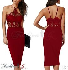 Ladies Womens Midi Dress Bodycon Red Party Pencil Wiggle Floral Lace Size 12 14'