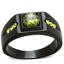 GIFTS 4 MEN Size 9 R Stainless Steel Black Tone Olivine CZ AAA Grade Stone Ring