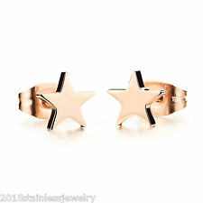 Fashion Womens 304 Stainless Steel Rose Gold Star Ear Stud Earrings