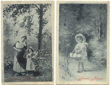 F Ostern 2 alte AK's um 1910 (Mädchen im Wald mit Eierkorb, Mutter mit Tochter)