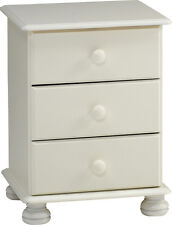 Richmond White Bedside Table, 3 drawer bedside cabinet with metal runnersBARGAIN