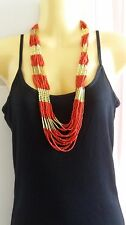 Red Brown and Gold Seed Bead Necklace Vintage Fashion
