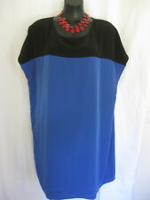 SIZE 20 SMART FLATTERING BLUE BLACK SHIFT DRESS - GEORGE