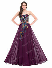 Plus Size 24 Womens PEACOCK Masquerade Long Purple Evening Ball Gown Party Dress