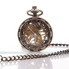 Klassische Steampunk Bronze Mechanische Edelstahl Herren Damen Unisex Taschenuhr