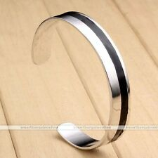 Fashion Stainless Steel Solid Silver Black Mens Womens Bracelet Cuff Bangle Gift