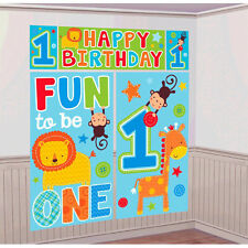 Boy 1st Birthday Party Supplies Decorations ONE WILD BOY Scene Setter Backdrop