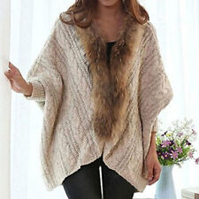 2016 Winter New Women Cardigan Knitted Sweater Batwing-sleeved Blouse Fur Collar