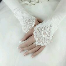 Fingerless White Satin Pearl Embroided Wedding Lace Gloves Formal Bridal. 565