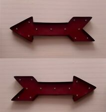 Large LED Metal Red Arrow Wall Art Vintage Circus Industrial Cinema Exit Sign