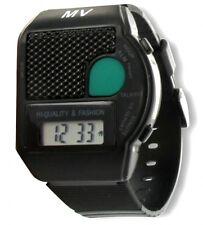 SCHWARZ Sprechende Armbanduhr Big Button Blindenuhr ALARM Wecker Senioren Uhr