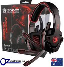 SADES SA-708 Stereo PC Gaming Headset Headphones Noise Cancel Mic 3.5mm RED NEW