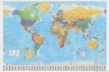 WORLD MAP POSTER (LAMINATED) LARGE EDUCATIONAL Country Flags Political Wall NEW