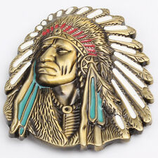 3D Native American Indian Head Belt Buckle Brass Men Vintage Chief Free Shipping