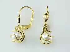 585 Gold Ohrringe mit Süsswasser Perlen 7mm Grösse   1 Paar