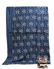 Indigo Blue Floral Print Bed Cover Cotton Quilt Queen Size Blanket Bedding Throw