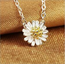 """925 Sterling Silver Plated Daisy Flower Charm Pendant Necklace 18"""""""