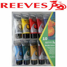 REEVES ACRYLIC PAINT SET 10 x 75ml TUBES ART ARTIST SATIN WHITE RED BLUE YELLOW