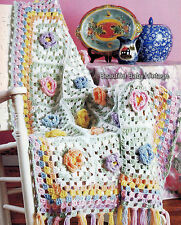 Reproduction CROCHET PATTERN 5 Vintage Floral Flower Afghans Rugs Shawls Throws
