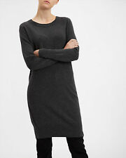 New Jaeger Charcoal Grey Knitted Wool Cashmere Jumper Dress Size M UK 10-12