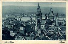 Mainz am Rhein Rheinland Pfalz alte Postkarte AK ~1940 Blick zum Dom und Rhein